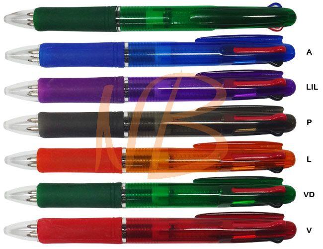 Caneta plástica carga 3 cores