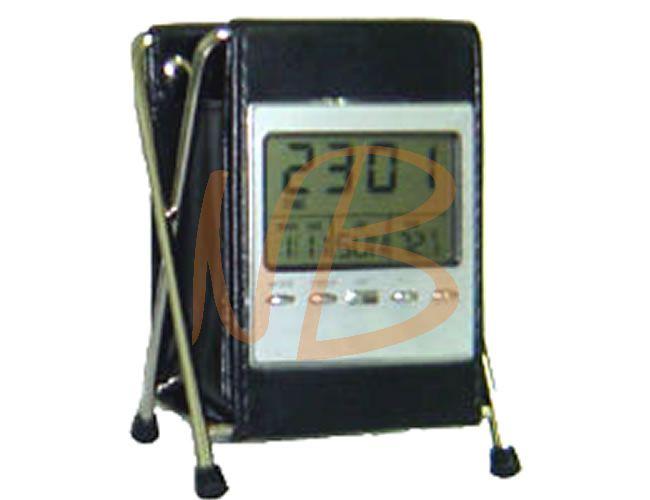 Relógio digital em couro